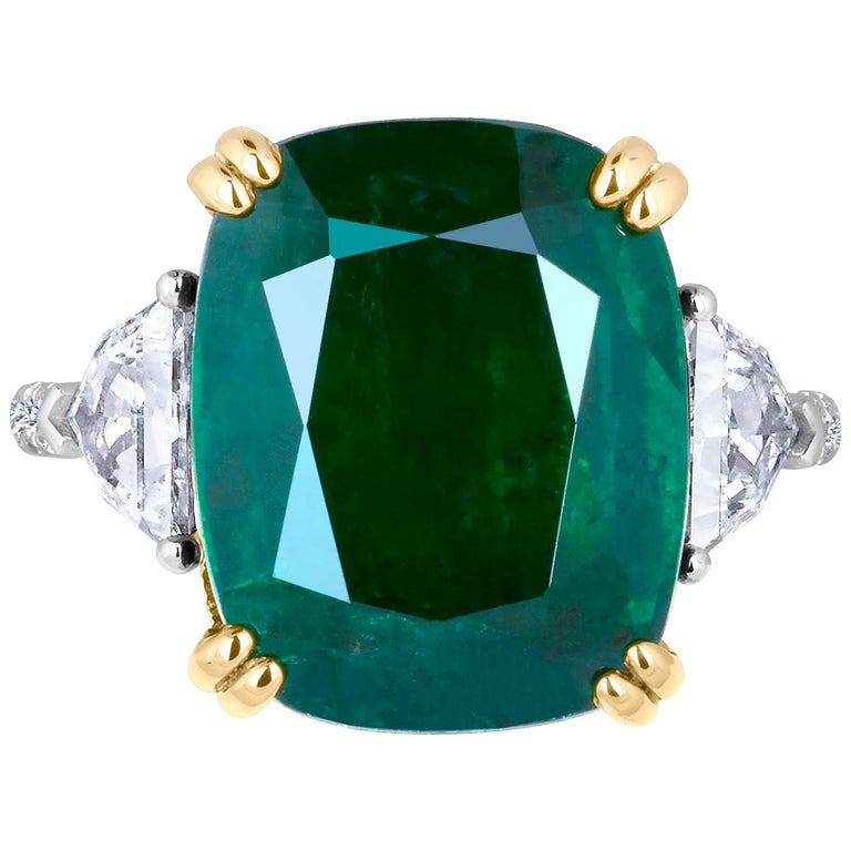 Emilio Jewelry 12.27 Carat Certified Genuine Emerald Diamond Ring For Sale