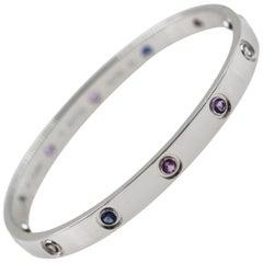 Cartier 18 Karat Gold Love Bracelet, Aquamarines, Sapphires, Spinels, Amethysts
