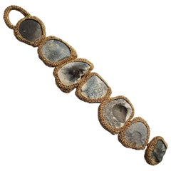 Bracelet of Pebbles in Crocheted Golden Metallic Twine by Artist Tine Steen