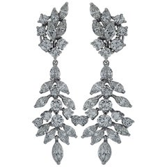 10 Carat Diamond Day and Night Platinum Dangle Earrings