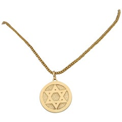 Saint Estephe and Star-Of-David Medallion Pendant in Yellow Gold