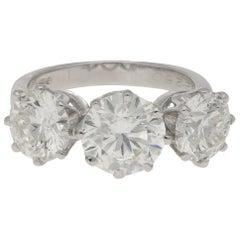 4.69 Carat Three-Stone Diamond Ring in Platinum