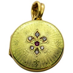 Faberge 18 Karat Gold Guilloche Chartreuse Green Locket, Diamond and Ruby