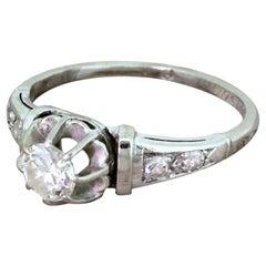 Art Deco 0.30 Carat Transitional Cut Diamond Platinum Engagement Ring