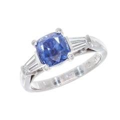 Peter Suchy GIA Certified 2.17 Carat Sapphire Diamond Platinum Engagement Ring
