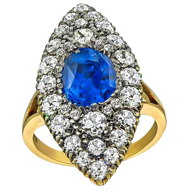 Victorian GIA Certified 3 Carat No Heat Sapphire Diamond Ring For Sale