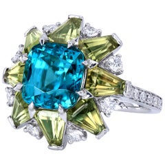Leon Mege Avant Garde Paraiba-Like Blue Zircon Fancy Sapphire Diamond Ring