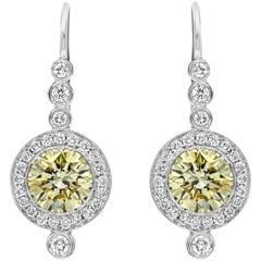 Fancy Yellow Diamond Halo Drop Earrings