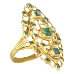 Emerald 0,40 Yellow Gold Victorian Cocktail Ring