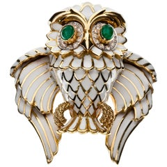 David Webb Enamel Owl Brooch