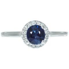 Peter Suchy GIA Certified 1.05 Carat Sapphire Diamond Platinum Engagement Ring