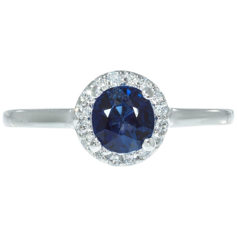 Peter Suchy GIA Certified 1.05 Carat Sapphire Diamond Platinum Engagement Ring For Sale
