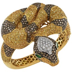 Diamond, Yellow Sapphire and Emerald Snake Bangle Bracelet
