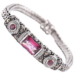 John Hardy Sterling Silver Pink Tourmaline and Diamond Batu Bracelet