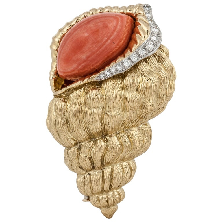 David Webb Shell Brooch with Coral and Diamonds For Sale