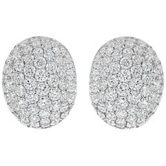 Micro-Pave Diamond Oval Shape Omega Clip Earrings