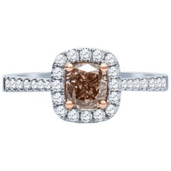 1.00 Carat 'GIA' SI1 Fancy Orange Brown Diamond Cathedral Engagement Ring