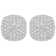 Micro-Pave Diamond Cushion Shape Omega Clip Earrings