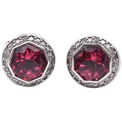 Judith Ripka Pink Tourmaline and Diamond Batu Earrings