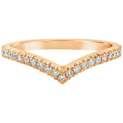Diamond Rose Gold V-Shaped Wedding Band