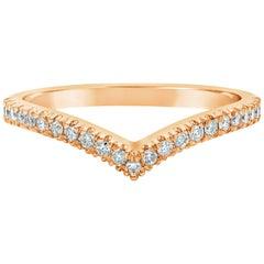 Roman Malakov Diamond Rose Gold V-Shaped Wedding Band