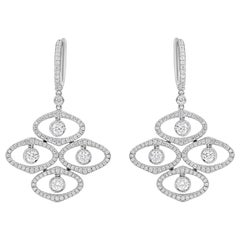 Open-Work White Gold and Diamond Dangle Earrings