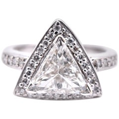 2.01 Carat Trillion Cut 14 Karat White Gold Diamond Engagement Ring