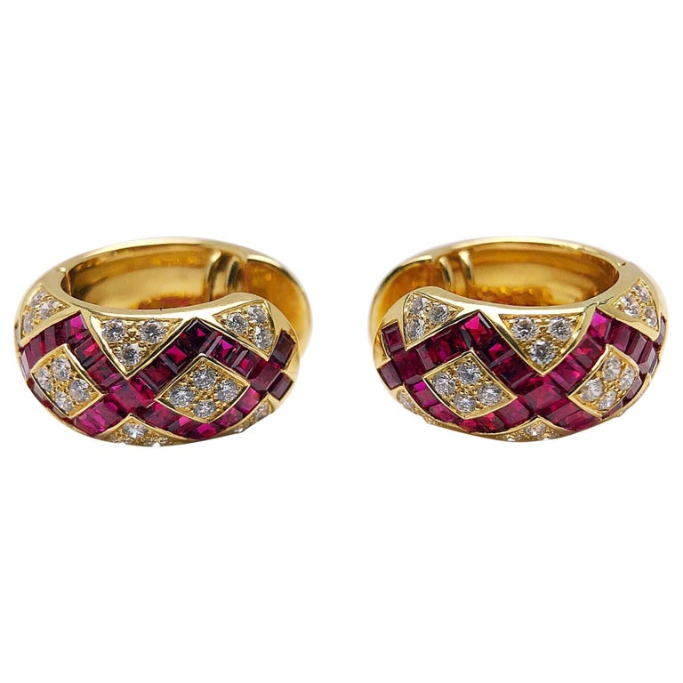 Modern Victor Mayer Faberge  Diamond Ruby Huggie Earrings with Certificate For Sale
