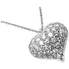 Tiffany & Co. Pavé Diamond Heart Platinum Pendant Necklace