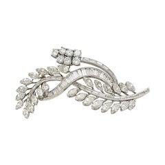 Estate Diamond Platinum Floral Brooch