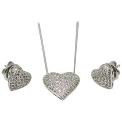 1.62 Carat White Round Brilliant Diamond Heart Shape Three-Piece Pendant Set