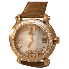 Chopard Happy Sport Rose Gold Diamond Leather Band Ladies Watch 27/7473-5001