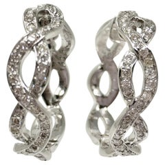 1.50 Carat White Diamond Hoop Earrings in 18 Karat White Gold