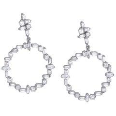 14 Karat White Gold 1.50 Carat Diamond Drop Earrings