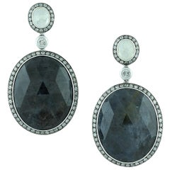 Labradorite Moonstone Diamond Gold Drop Earrings