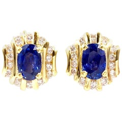 18 Karat Sapphire and Diamond Button Stud Earrings