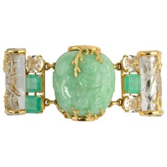 Seaman Schepps Rare Emerald, Rock Crystal and Jade Snuff Bottle Gold Bracelet
