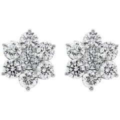Roman Malakov, 7.48 Carat Cluster Diamond Flower Stud Earrings