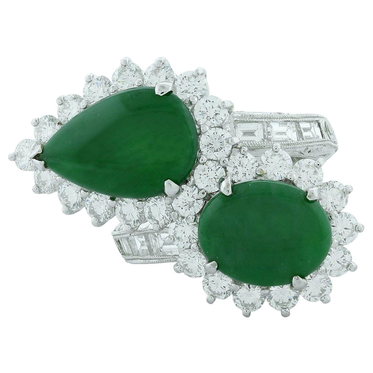 Jadeite Jade Diamond Platinum Bypass Ring, GIA