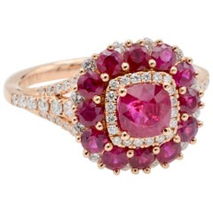 Marguerite Ruby and Diamond Halo Ring in Rose Gold
