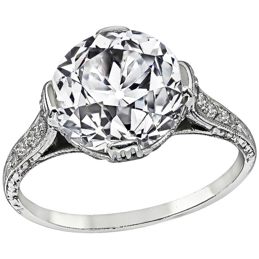 GIA Certified 3 Carat Old European Diamond Engagement Ring