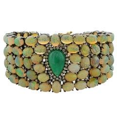 Estate Cabochon Emerald Opal Diamond Gold Bracelet