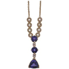 18 Karat Yellow Gold, Tanzanite '6.11 Carat' and Diamond '1.04 Carat' Pendant
