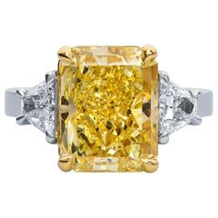 7.32 Carat 'GIA' Radiant Fancy Yellow Diamond with Side Trapezoid Diamonds Ring