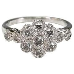 "14 Karat White Gold ""Flower"" Diamond Ring"