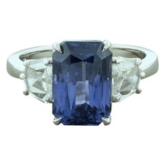 Color-Change Sapphire Diamond Platinum Ring, GIA
