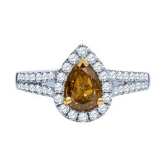 1.00 Carat Pear Shape Fancy Brown, Yellow Color Center Diamond Engagement Ring
