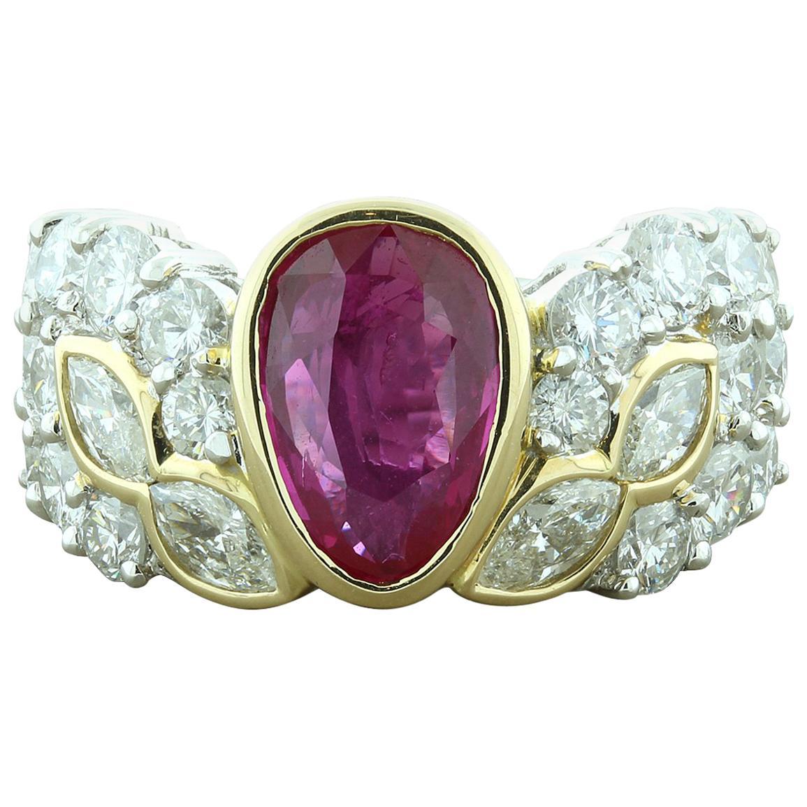 Ruby Diamond Platinum Gold Cocktail Ring