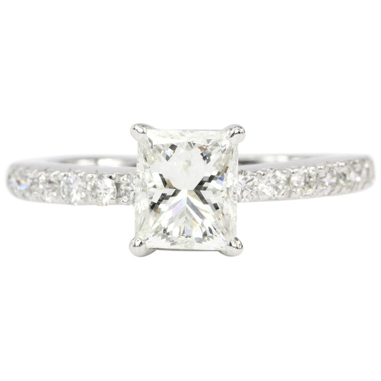 White Gold 1.11 Carat Princess Cut Diamond Engagement Ring For Sale