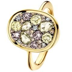 Joke Quick 1,16 Carat Pink, Blue & Yellow Brilliant & Rose-cut Diamond Pave Ring